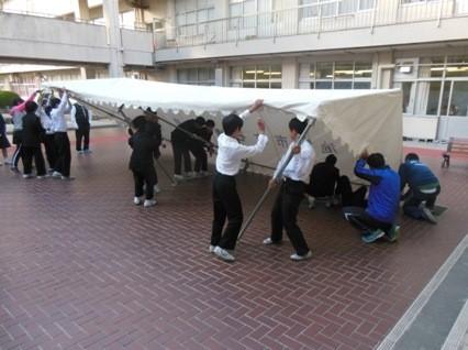 ③テント設営訓練